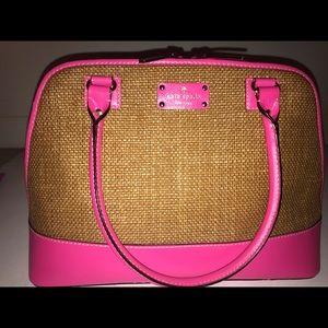 kate spade New York pink straw bag